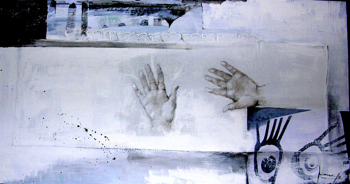 noli-me-tangere-2013-olio-inchuiostri-acrilico-su-carte-e-tela-50x100-3