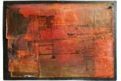 'Rosso scritto'-2017-acrilico e inchiostri su carte e mdf-cm 114x80