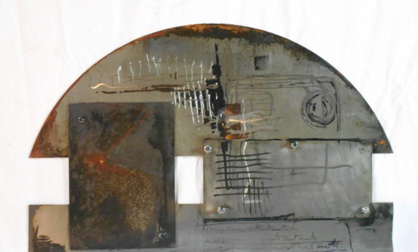 'Connessione'-2018-acrilico e ossidi su lastra di ferro-cm 45x71