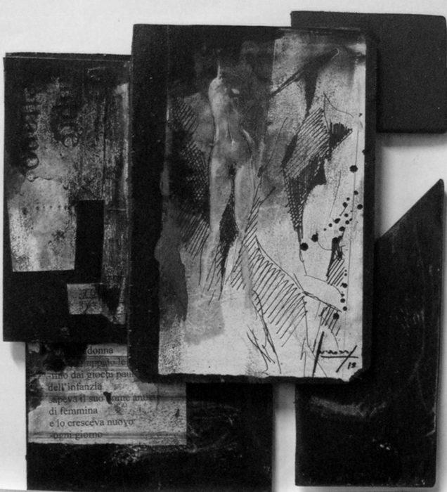 ancora-affossata-senza-memoria-qualcosa-si-ritola-dentro-il-sesso-impaurito-2013-acrilico-e-inchiostri-su-tavola-e-carte-39x35
